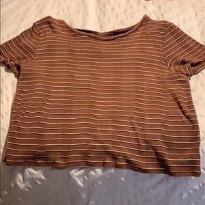 Brown striped rubber crop top from American Eagle